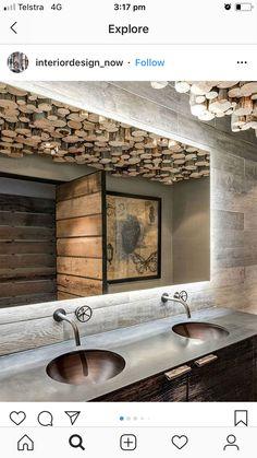 Dream Bathrooms, Amazing Bathrooms, Cabin Design, House Design, Rustic Design, Modern Bathroom, Master Bathroom, Bathroom Lighting Design, Tiny Cabins