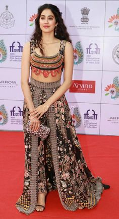 Shah Rukh Khan, Sridevi, daughter Janhvi Kapoor, Shahid Kapoor, Ishaan Khattar and other Bollywood celebrities walk the red carpet at the IIFI 2017 opening ceremony in Goa Lehenga Designs, Dress Indian Style, Indian Dresses, Indian Attire, Indian Ethnic Wear, Indian Wedding Outfits, Indian Outfits, Indian Designer Outfits, Designer Dresses