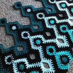 "crochetghoulie: ""Shades of teal I'm gonna call this pattern Nostromo, after the ship in Alien "" @crochetghoulie Love, this is epic! And the name! YES. When can we get out hands on this..."