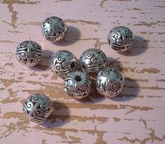Metal Beads 10mm Antique Silver Round 8 Pcs     by unstrungbeadery, $2.09