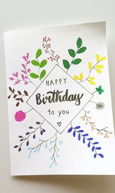Birthday Card with colorful flowers Birthday Cards, Happy Birthday, Birthdays, Drawings, Flowers, Ideas For Birthday Cards, Drawing S, Projects, Creative