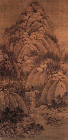 "Juran(巨然) , 五代 巨然 秋山问道图 台北故宫博物院藏. 本图无款,以立幅构图画重重叠起的山峦,下部清澈的溪水,曲折的小路通向山中,山坳处茅舍数间,屋中有二人对坐,境界清幽,前人谓巨然之山水,善为烟岚气象,""于峰峦岭窦之外,至林麓之间,犹作卵石、松柏、疏筠、蔓草之类,相与映发,而幽溪细路、屈曲萦带、竹篱茅舍、断桥危栈,真若山间景趣也""。"