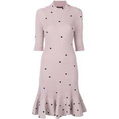 Giambattista Valli polka dot sweater dress ($1,686) ❤ liked on Polyvore featuring dresses, pink dress, giambattista valli, sweater dress, spotted dress and spotty dress