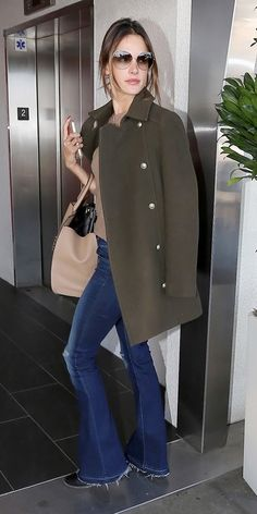 Alessandra Ambrosio | Zadig & Voltaire coat; J Brand 1177 Low-Rise Martini Jeans in Riot Destruct;  Gucci Jackie Soft Leather Top Handle Bag