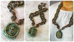 Green Buddha Macrame Neckalce collage by The Beading Yogini