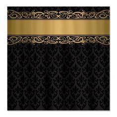 Golden Stripe Vintage Damask Shower Curtain by DecorativeDesigns