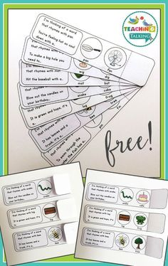 Try these FREE rhyme fold overs for a quick way to teach your students about rhyming in speech & language therapy. Phonological Awareness Activities, Rhyming Activities, Speech Therapy Activities, Speech Language Therapy, Language Activities, Speech And Language, Speech Pathology, Receptive Language, Language Arts