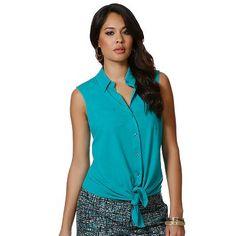 daisy fuentes Tie-Front Shirt - Petite