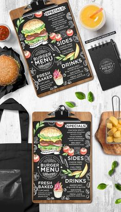 Creative fast-food menu template for your restaurant business with graphic food illustrations - burgers, fries, desserts, drinks. - Only for Adobe Photoshop and Menue Design, Food Menu Design, Food Poster Design, Restaurant Menu Design, Restaurant Recipes, Bakery Menu, Fast Food Restaurant, Food Truck Design, Burger Restaurant