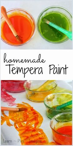 Have you ever made homemade tempera paint? This might just be the easiest paint recipe we've ever made. Egg Paint Recipe Can I make a confession? Easy Paint Recipe, Painting For Kids, Art For Kids, Fun Crafts, Crafts For Kids, Baby Crafts, Creative Crafts, Slime, Homemade Watercolors