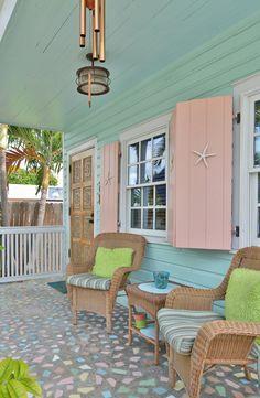 Blue Porches-Island Jane Magazine – House Decor Tips Beach Cottage Style, Beach Cottage Decor, Coastal Cottage, Coastal Homes, Coastal Style, Beach Cottage Exterior, Coastal Living, Cottage Porch, Cottage House