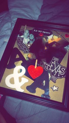 Shadow box I made for my boyfriend in Texas <3