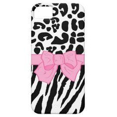 A cute and trendy black and white animal print case with a modern leopard print on the top and chic zebra pattern on the bottom divided by a girly pink ribbon tied like a bow. Perfect for the stylish teen fashionista.