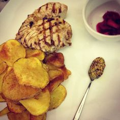 Fresh grilled tuna pommes and senape