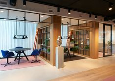 A Look Inside ING's Modern Amstelveen Office - office _workplace - Design Corporate Office Design, Open Office Design, Industrial Office Design, Corporate Interiors, Office Interior Design, Office Interiors, Office Designs, Corporate Offices, Industrial Lamps