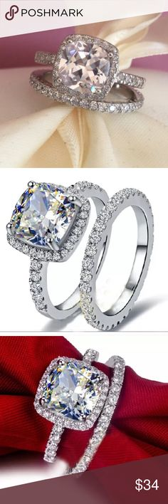 White Sapphire Engagement Ring 925 Silver Filled 2.00 Carat White Sapphire Jewelry Rings