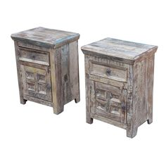 Rustic painted teak bedside cabinet with one drawer and one door. Each is unique.   18w 13d 25h