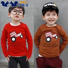 2013 autumn korean version of the new childrens clothing baby boy child car alphabet primer shirt long-sleeved t-shirt 6582 only $6.98USD a Piece