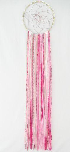 Boho Princess Pink White & Gold Dream Catcher / Boheminan / Baby Girl Nursery / Pink Decor / Girl Dreamcatcher