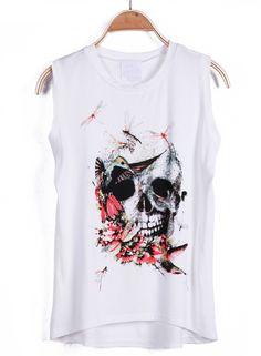 #SheInside White Sleeveless Skull Dragonfly Print Vest - Sheinside.com