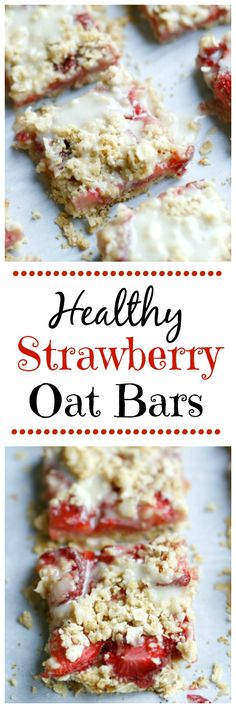 Healthy Strawberry Oat Bars. A clean eating dessert idea. Tastes like Strawberry Nutrigrain bars. 21 Day Fix approved.