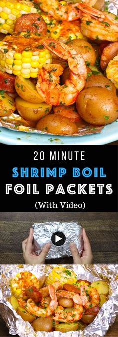 Shrimp, potatoes and veggies are baked in foil, which makes it moist, tender, and juicy. It takes only 20 minutes. Plus clean up is a breeze! Quick and Easy dinner recipe. Grilling Recipes, Fish Recipes, Seafood Recipes, Cooking Recipes, Healthy Recipes, Sausage Recipes, Cooking Kale, Cooking Courses, Cooking Steak