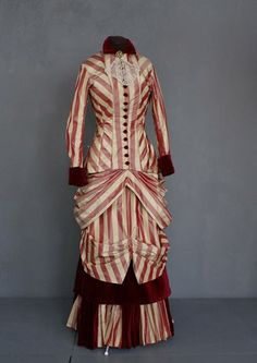 1880 silk taffeta dress with alternate bodice