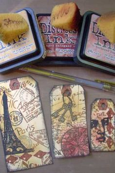 step by step collage stamping - hmm, never really knew how to use my distress ink Card Making Techniques, Embossing Techniques, Artist Trading Cards, Card Tutorials, Copics, Distress Ink, Card Tags, Tag Art, Tim Holtz
