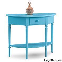 KD Furnishings Coastal Demilune Multicolored Hall Stand/Sofa Table With Shelf