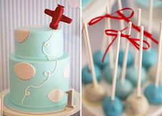lovely cake and adorable aqua red shades of the Sweet table for this airplane inspired party