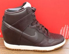 womens nike dunk sky hi wedge trainers shoes brown 528899 202 uk sz3.5