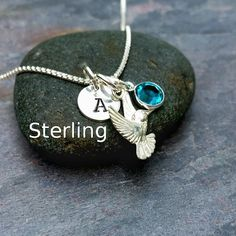 Sterling Silver Hummingbird Charm Necklace Pendant - Personalized Custom Letter Name Initial Stamp - Birthstone or Swarovski Crystal Pearl by CharmNecklaces on Etsy