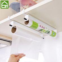 Kitchen Food Wrap Paper Towel Hanging Holder Cupboard Door Tissue Wiping Paper Organier Wash Cloth Storage Hanger Shelf(China)