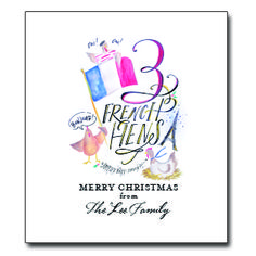 """Third Day of Christmas Tea Towel Approx. 20""""W x 30""""L. Up to 20 characters for personalization. 100% Cotton. Message: """"Three French Hens - Merry Christmas from ___________"""""""