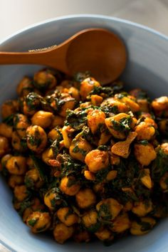 Spinach with Chickpeas : add cumin and a ilttle tomato sauce to the recipe. Serve with olives and spanish cheese for a complete meal