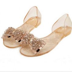 Bling Bowtie Fashion Peep Toe Jelly Shoes Sandal