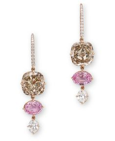 A PAIR OF COLOURED DIAMOND, PADPARADSCHA SAPPHIRE AND DIAMOND EAR PENDANTS Each set with a cushion-shaped fancy brown diamond weighing approximately 5.07 and 5.01 carats, suspending an oval-shaped padparadscha sapphire weighing approximately 1.69 and 1.65 carats, terminating in an oval-shaped diamond, joined to the brilliant-cut diamond hook, mounted in 18k rose gold