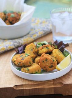 Spiced Yellow Split Pea Fritters from Girl Cooks World. Delicious and full of flavor, these tasty little fritters make a great snack, side dish or appetizer. Vegan and gluten free. Pea Recipes, Indian Food Recipes, Asian Recipes, Whole Food Recipes, Vegetarian Recipes, Cooking Recipes, Healthy Recipes, Lentil Recipes, Vegetable Recipes