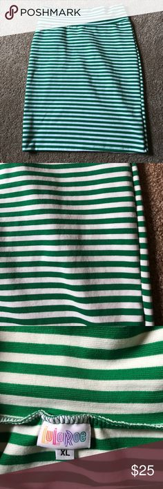 EUC xl Lularoe Kelly green / white Cassie Only worn twice.  Excellent used condition.  Kelly green / white stripe Cassie. XL LuLaRoe Skirts Pencil