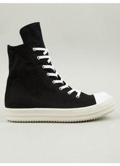 Mens Black Ramones Canvas Hi-Top Sneakers
