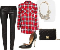 Leather leggings, plaid shirt