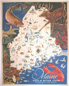 1950's Vintage Maine American Antique Travel Poster Map  I bought one of these at the shop on the footbridge in Boothbay Harbor in the 1979s and still have it.