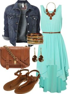 Country Concert Outfit: Turquoise dress with jean jacket and sandals. Could substitute the sandals for your cowboy boots for fall/winter country concert.