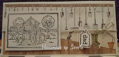 Handmade by Jenfie - Greetings Card, LOTV In the Shed stamp, Craftwork Cards Potting Shed paper, dad tag paper string