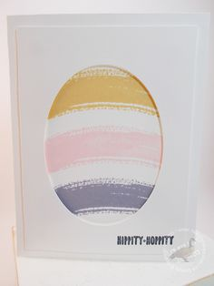 handcrafted Easter card: Pastel-Beauty ... clean and simple look ... negative space oval (egg) ... curved lines of watercolor swash stamp create curvy look ..