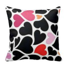 Black Harts Pillow #harts #hearts #pillow