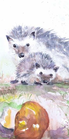 Hedgehog Art Original Watercolor Painting Forest Animals Woodland Nursery Decor Watercolour Print Mom Day Gift Mother And Baby Gifts Hedgehogs - print of my original watercolor painting. It is the work of a watercolor series Portraits of the Heart   To order, select one of them in the