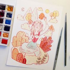 The Silver Saucer and the Rosy-cheeked apple tale for #inktober day 6! #inktober2015