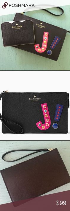 NEW! Kate Spade Wristlet & Card Holder BUNDLE! NWT! hartley lane initial leila initial Wristlet and Leewood place Card Holder.  express yourself: the hartley lane leila--a zip-top wristlet roomy enough for all of your essentials (including your iphone)--is decorated with the initial of your choice, in bright embellished leather Crosshatched leather with matching trim, quick & curious lining, 14-karat gold plated hardware, interior slide pocket kate spade Bags Clutches & Wristlets