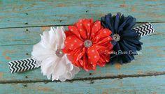 Red, White Blue Chevron Chiffon Flower Headband -4th of July Baby Headband - Newborn-Infant -Toddler - Girl - Teen - Adult- Photo Prop on Etsy, Sold